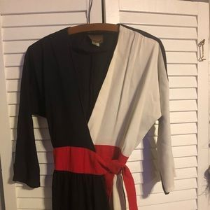 Vintage Black and White Red Wrap Dress